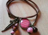Bracelet cabochon rayé rose